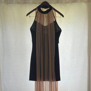 Freeway Black and Tan Grecian Dress